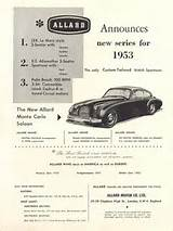1953 Advertising For The Allard J2x K3 And Palm Beach Models